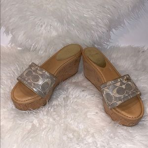 Coach espadrille slides with cork wedge size 7.5